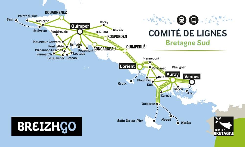 Comité de ligne Car BreizhGo en Finistère : 41, 42, 43, 45, 46, 51, 52, 52, 53, 54, 55, 56